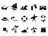 Set di icone di spiaggia nera — Vettoriale Stock