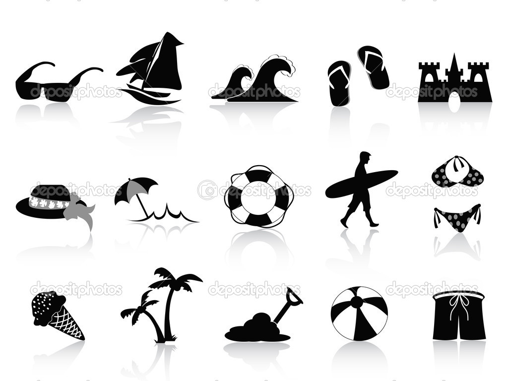 Set of 15 black beach icons — Stock Vector #7803720