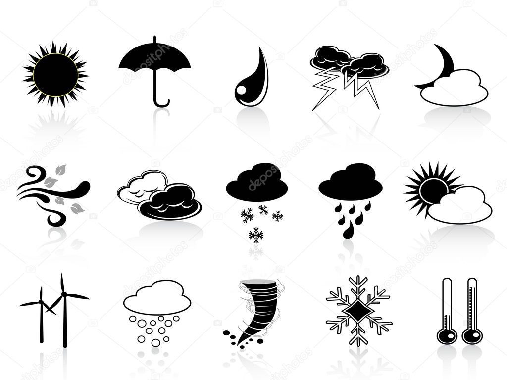 Vector set of weather icon in black color — Stock Vector #7803752