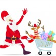 Santa Claus pushing shopping cart with deer and gifts — Stock Vector