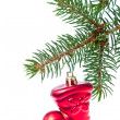 Royalty-Free Stock Photo: Red christmas star hanging from tree