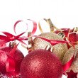 Christmas balls with ribbon and tinsel — Stock fotografie