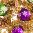 Christmas balls with tinsel — Stock Photo #7656441