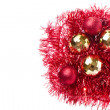 Christmas balls with tinsel — Photo