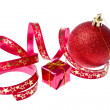 Royalty-Free Stock Photo: Red christmas ball with ribbon