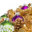 Royalty-Free Stock Photo: Christmas balls with tinsel