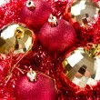 Christmas balls with tinsel — Stok fotoğraf