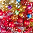 Christmas balls and tinsel — Стоковое фото