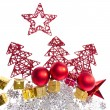 Christmas decoration with trees and balls - Foto Stock