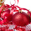 Christmas balls with ribbon and tinsel - Photo
