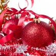 Christmas balls with ribbon and tinsel — Photo