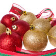 Christmas balls with big ribbon around — Stock Photo