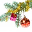Decorated christmas branch - Stock Photo