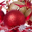 Christmas balls with ribbon and tinsel - Lizenzfreies Foto