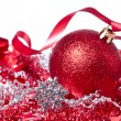 Ball with ribbon and tinsel - Foto de Stock