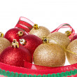 Stock Photo: Christmas balls with big ribbon around