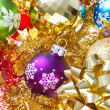 Christmas balls and tinsel — Stok fotoğraf
