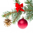 Christmas ball on branch - Stock Photo