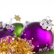 Christmas balls with tinsel - Foto Stock