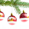 Red christmas ball on branch - Foto Stock