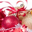 Christmas balls with ribbon and tinsel -  