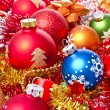 Christmas balls and tinsel - Stockfoto