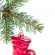 Red christmas star hanging from tree — Stock Photo #7656801