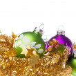 Christmas balls with tinsel -  