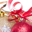 Christmas balls with ribbon and tinsel - Stockfoto