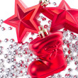 Christmas decoration with tinsel — Stock Photo