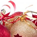 Christmas balls with ribbon and tinsel — Stock Photo #7656967