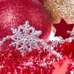 Christmas balls with ribbon and tinsel — Stock Photo #7656971