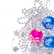 Christmas balls with tinsel — ストック写真