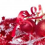 Christmas balls with ribbon and tinsel — Stock Photo #7657044