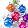 Christmas balls with snowflake symbols - Stock Photo
