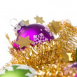 Christmas balls with tinsel - Photo