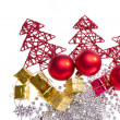 Christmas decoration with trees and balls - Stock Photo