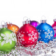 Christmas balls with snowflake symbols — Stock Photo