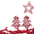 Trees with star with tinsel - Stock Photo