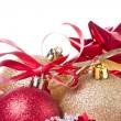 Christmas balls with ribbon and tinsel — Stock Photo #7657138