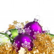 Christmas balls with tinsel - 图库照片