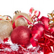 Christmas balls with ribbon and tinsel - Stock Photo