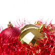 Christmas balls with tinsel — Foto Stock