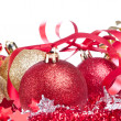 Christmas balls with ribbon and tinsel - Foto de Stock