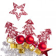 Christmas decoration with trees and balls - Stock fotografie