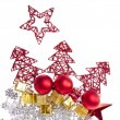 Christmas decoration with trees and balls - Stockfoto