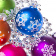 Christmas balls with snowflake symbols -  