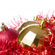 Christmas balls with tinsel — Stock Photo #7657225