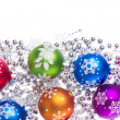 Christmas balls with snowflake symbols - 图库照片