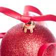 Christmas balls with ribbon and tinsel - Stock fotografie